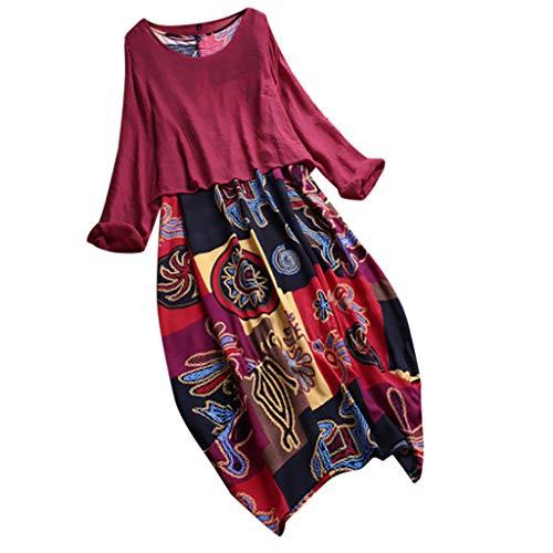 Leinen Kleider Mode Damen Freizeitkleider Plus Size Sommerkleid Patchwork Blusenkleid Zweiteilige Oansatz Tuchkleid Bohemian Print Vintage Maxi-Kleid Hot Pink XXL Hot Pink Cashmere