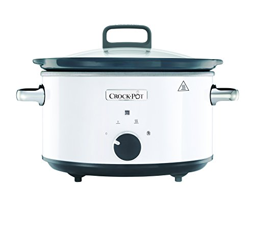 Crock-Pot CSC030X weißer Schongarer - Das Original aus den USA | Slow Cooker 3,5 L | Warmhaltefunktion | mit Rezeptheft | Spülmaschinenfester Topf und Deckel | weiß