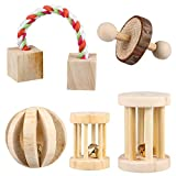 POPETPOP 5PCS Hamster Chew Toys Natural Wooden Play Toy Exercise Bell Roller Teeth Care Molar Toy for Bunny Rabbits Rats Gerbils and Other Small Animals
