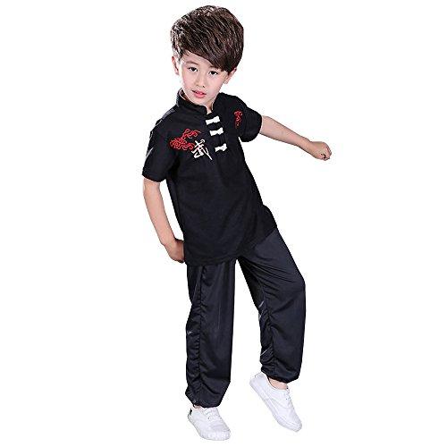 BOZEVON Unisex Mädchen Junge Kung Fu Tai Chi Tang Anzug Hemd Hose Set Kampfsportanzug Darbietungen Tanzkostüme,