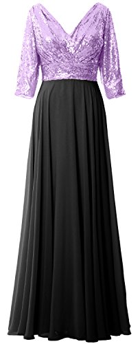 MACloth Women 3/4 Sleeve V Neck Mother Dress Sequin Chiffon Wedding Formal Gown Lavender-Black