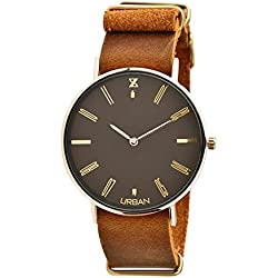 URBAN Quartz Watch zu008d Zzero Yellow Gold Plated Steel Quandrante Brown Leather Strap