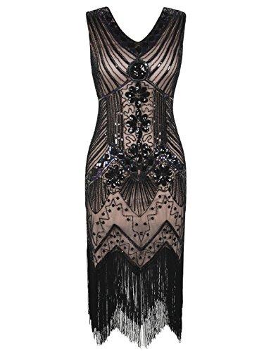 PrettyGuide Damen 20er Jahre Charleston Kleid Pailletten Franse Cocktail Gatsby Kleid L/EU44-46 Schwarz beige