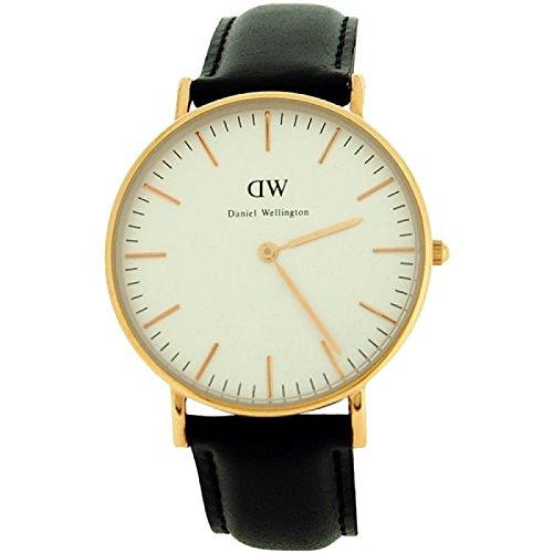 Daniel Wellington de mujer con esfera de color blanco, de piel de color negro de la correa de un reloj 0508DW