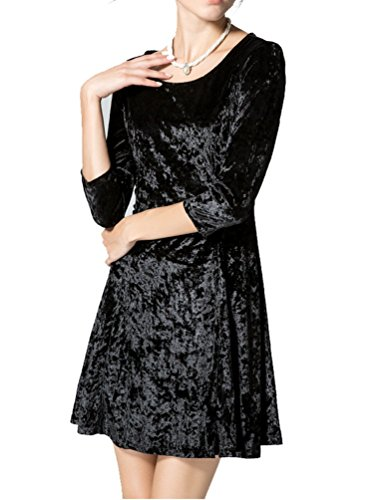 Ghope Femmes Dentelle Manches 3/4 Swing Retro Robe de Soirée Velours Unie Autome Hiver Kurz Robe Noir
