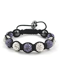 09-Ball Purple Lotus & White Shamballa Bracelet with strings