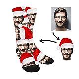 Calcetines Navideños Personalizados con tu cara - Gorro navidad Hombre Mujer - Sube tu Foto Nosotros hacemos el trabajo! - Unisex - Caras Nombres Regalo Original (Clásico)