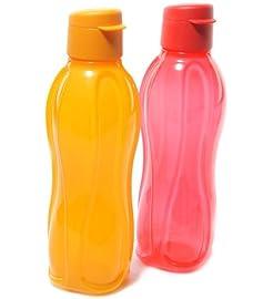 Tupperware Fliptop Aquasafe 1000 Ml Water Bottles Set Of 2, Multicolor