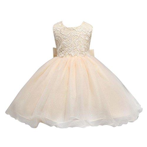 n Stickerei Bowknot Blumendruck Backless Princess Tutu Kleid Sommerkleid (Beige, 1-2 Jahre) (Kleinkind Barbie Kostüm)
