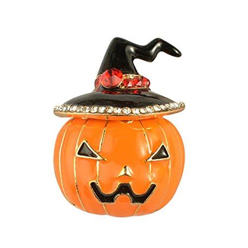 beiguoxia Damen Brosche Let's Party, Halloween-Kostüm-Schmuck, Strasssteine, Emaille/Kürbis-Motiv, Orange, Orange, Einheitsgröße