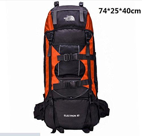 LQABW Zaino Supporto Viaggi Burden Borsa A Tracolla Professionale Alpinismo Sacchetto Impermeabile Panno Di Nylon Oxford Escursionismo Zaino 75L,Orange Orange