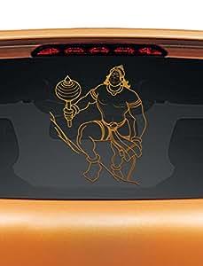 WallDesign Car Decal Mighty Hanuman Copper Colour Reflective Stickers