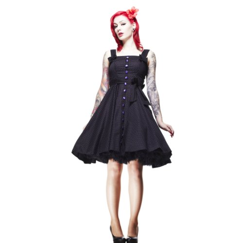 Hell Bunny dell'abito GERY 1524 cm S a pois DRESS Black/Purple nero/viola 34