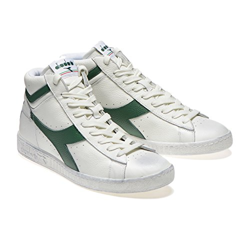 Diadora Game L High Waxed, Pompes à Plateforme Plate Mixte Adulte Bianco/verde