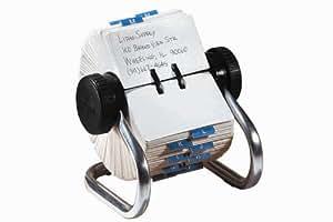 ROLODEX fichier rotatif pour cartes de visite, chrome avec 500 cartes 57 x 102 mm, sans pochettes