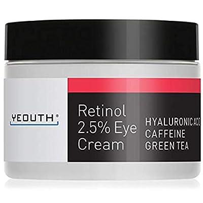 Retinol Eye Cream 2.5% from YEOUTH Boosted w/Retinol, Hyaluronic Acid, Caffeine, Green Tea, Anti Wrinkle, Anti Aging, Firm Skin, Even Skin Tone, Moisturize and Hydrate
