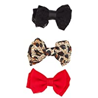 Lux Accessories Kids Girls Black & Red Leopard Bow Clip Set