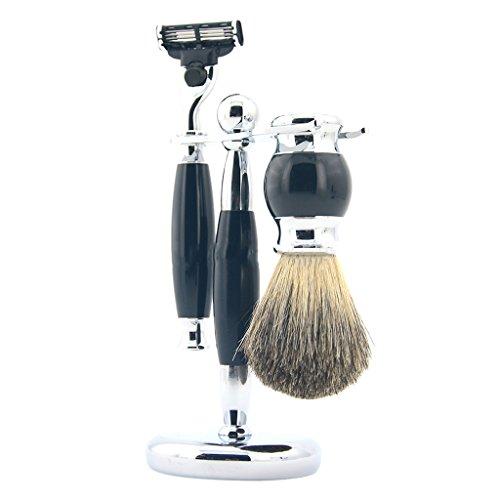 Sharplace Set Complet de Rasage pour Barbiers Blaireau à Raser + Porte Rasoir et Brosse Display Stand + Rasoir à Rasage Manuel