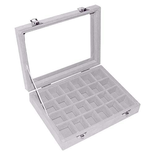 Schmuck Ring Display-Box - Schmucklade mit Samtenen Fächern und Glas Deckel, Ringhalter Aufbewahrung Organizer - Anhanger Ohrringe Manschettenknopfe - Schmuckkastchen, Aufbewahrungsbox (24 Fächern)
