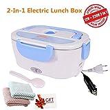 Nifogoo Elektrische Heizung Lunchbox - 2 In 1 Elektrische Brotdose für Auto und Büro, Warmhaltebox für Essen Edelstahl 12V und 220V, Food Box Speisenwärmer 40W (n-Blau + 2 Putztuch)