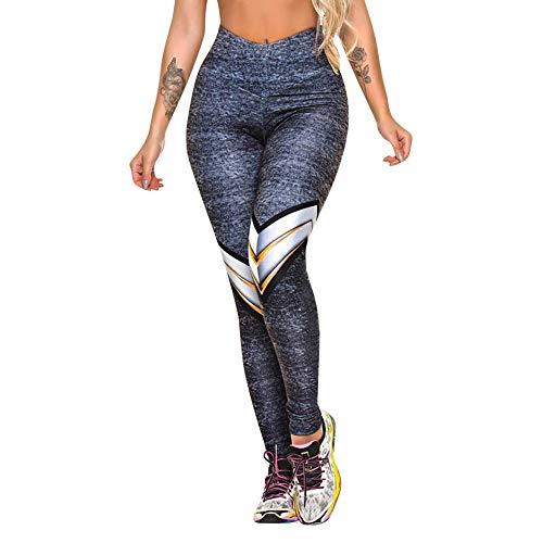 Leggings da allenamento stampati da donna pantaloni sportivi da yoga pantaloni leggings slim a vita alta morbidi (s, blu)