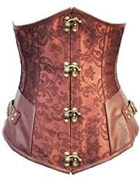 aimerfeel brocard brun Long Line style steampunk corset désossé par acier sous la poitrine, la taille 34,36,38,40,42,44, 46