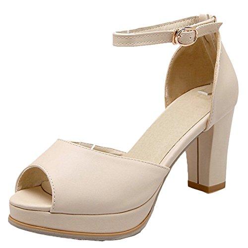 TAOFFEN Damen Classical Peep-Toe High heel Blockabsatz Sandalen Beige