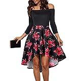 0f05dfcc54 Vestidos de Mujer Elegantes Cortos Sexy Vestido Fuera del Hombro Mujer  Vestido Corto con Estampado Floral