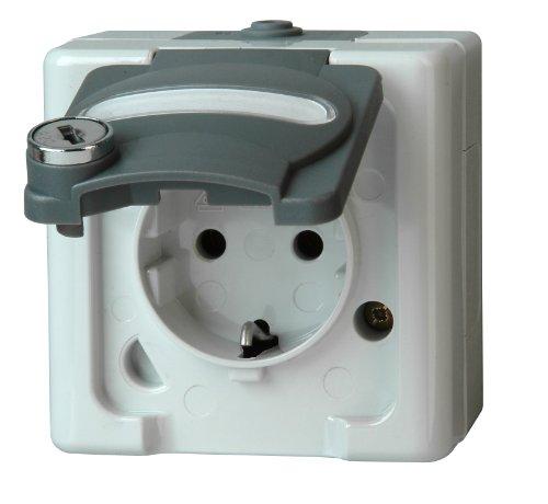 Preisvergleich Produktbild Kopp 104256004 Blue Electric Schutzkontakt-Steckdose mit Sicherheitsschloss-Klappdeckel