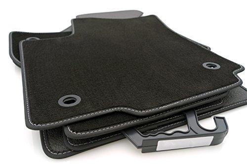 kh Teile Fußmatten / Velours Automatten Premium Qualität Stoffmatten 4-teilig schwarz Nubukleder Einfassung silberne Naht