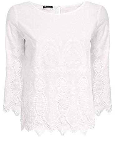 oodji Collection Femme Blouse en Coton Ajourée Blanc (1000N)
