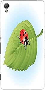 Snoogg Ladybird On Leaf Vector Designer Protective Back Case Cover For Sony X...