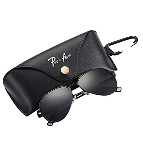 Pro Acme Small Polarized Aviator Sunglasses for Adult Small Face and Junior,52mm (Black Frame/Black Lens,