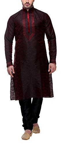 Indian Poshakh Men's Art Silk Kurta Pyjama (937-L, Maroon, Large)