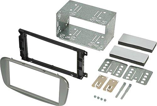 2DIN Einbauset Set | Radioblende / Einbaurahmen + Metall-Einbauschacht / Käfig für FORD [ Ford Mondeo (BA7) 2007->; Ford Focus (DB3) 02/2008 - 11/2010; Ford S-MAX (WA6) 2007->; Ford C-MAX (DM2) 2007->11/2010 ] nach Austausch des werkseitigen Originalradio [ 6000 CD (ovale Form); Audio SONY 6CD (ovale Form); Travel Pilot X (ovale Form) ] zum Einbau von handelsüblichen doppeldin Geräte andere Hersteller. Passend zum Cockpit in Farbe: (silber / silver)