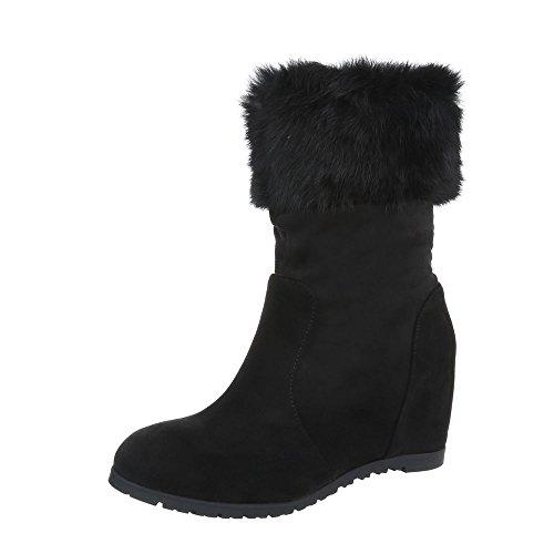 Ital-Design Keilstiefeletten Damen-Schuhe Keilstiefeletten Keilabsatz/Wedge Keilabsatz Reißverschluss Stiefeletten Schwarz, Gr 39, 0-201-