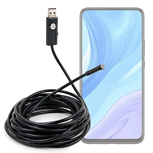 DURAGADGET Endoscopio de 5 m con cámara de vídeo y Fotos Compatible con Smartphone Huawei Enjoy 10. Luces LED, imán, Gancho y Espejo