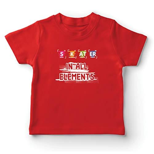lepni.me Kinder Jungen/Mädchen T-Shirt Skater in Allen Elementen Chemie Periodensystem Sport (7-8 Years Rot Mehrfarben)