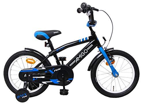 amiGO BMX Fun - Kinderfahrrad - 16 Zoll - Jungen - mit Rücktritt und Stützräder - ab 4 Jahre - Schwarz/Blau