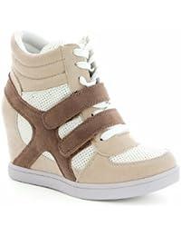 Baskets mode compensées bimatière urban - chaussures femme - Beige - 40