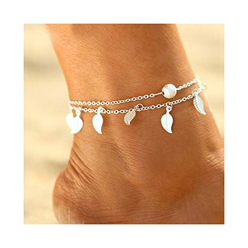 Simsly - cavigliera a catenina con pendenti a forma di foglie, accessori, gioielli stile bohémien, per donne e ragazze (argento)