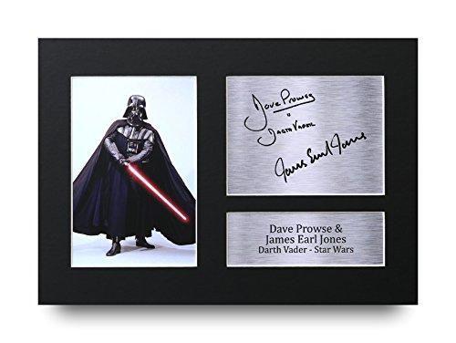 A4 Bilderrahmen Star Wars Darth Vader Gedrucktes Autogramm von Dave Prowse und James Earl Jones Fotorahmen - Tolle Geschenkidee