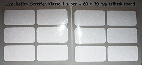 UvV-Shop Reflektor Sticker Aufkleber, 12 Stück 60 x 30 mm Unfälle vermeiden vorbeugen Schutz & Sicherheit in der Dunkelheit (silber)