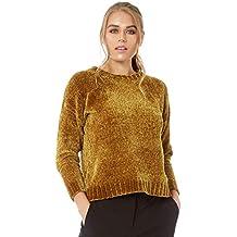 ba1bc5cb1862 Roman Originals Femme Pull Matière Chenille Super Doux - Automne Hiver  Chaud Casual Manches Longues Pullover