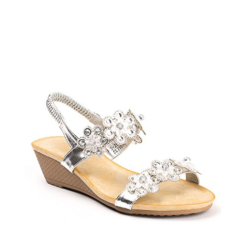 Ideal Shoes - Sandales compensées et décorées de fleurs strassées Sedrine Argent
