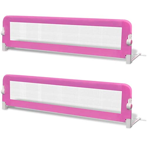 vidaXL 2x Barras de Seguridad para Cama Niño Rosa 150x42 cm Barrera Infantil