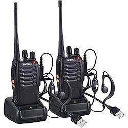 Nestling 2 PCS Talkie Walkie Rechargeable Longue portée 16CH Radio bidirectionnelle Set Talky Walky avec écouteurs pour la Survie sur Le Terrain Camping Randonnée Communication