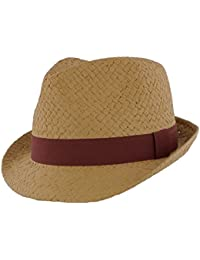 The Hat Company Mens Natural Straw Trilby with coloured band MS16109