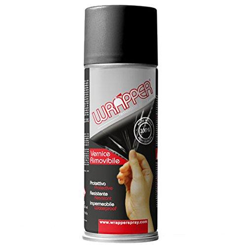Quattroerre 16413 Wrapper Spray Vernici Rimovibili Tinta Ral 9005, Nero Opaco