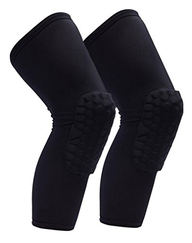 HiKong 1Pair Basketball Honeycomb Knee Pads Leg Sleeve Kneepads Crashproof Sports Knee Brace Guards for Men Women Black L